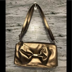 Naturalizer vegan leather gold purse with bow